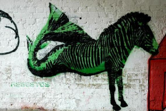 asbestos stencil art distorted animals Street Art by Asbestos   Master of Mixed Media