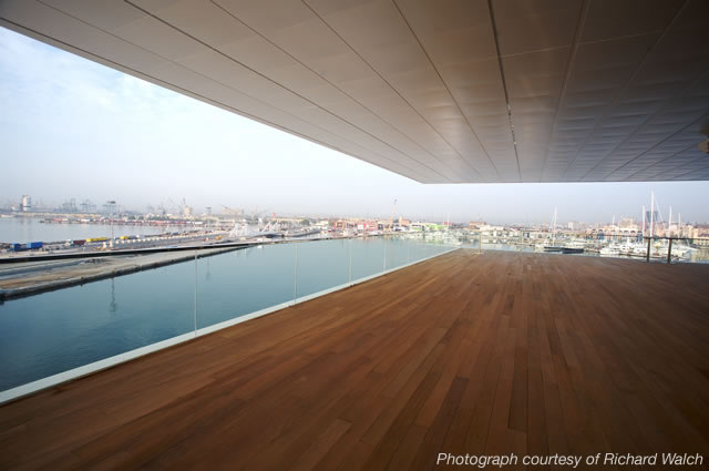 waterfront views from the americas building Waterfront Viewing   Americas Cup Building Veles e Vents | Valencia, Spain