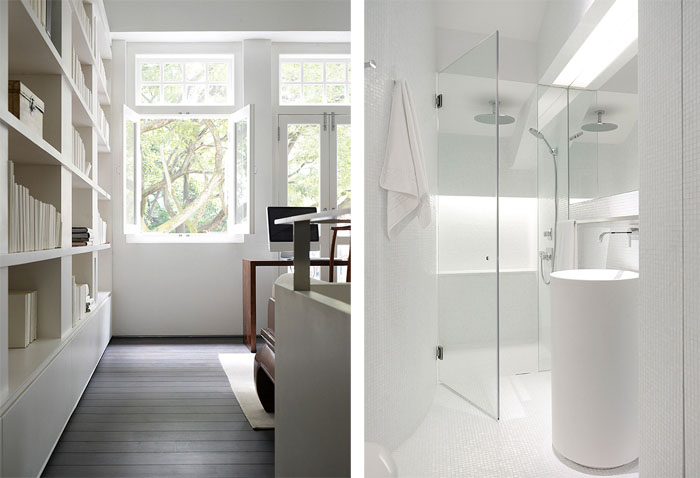 An elegant solution to a long and narrow space twistedsifter for Second bathroom ideas