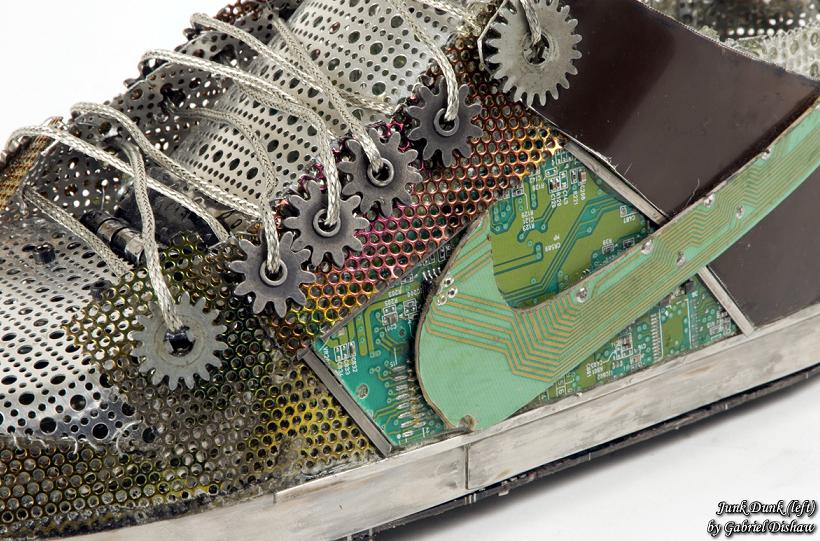 nike dunk recylcled material and metal Nike Shoes Made of Junk, Become Art