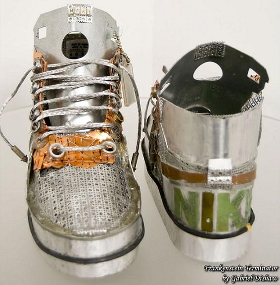 nike shoes made of computer parts frankenstein terminators Nike Shoes Made of Junk, Become Art