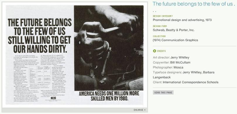 the future belongs to the few of us print ad 1973 schwab beatty and porter Get Your Hands Dirty: Poster Requires Ink To Reveal Message