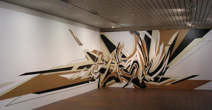 art using tape daim graf 3D INSANITY With Only Four Letters