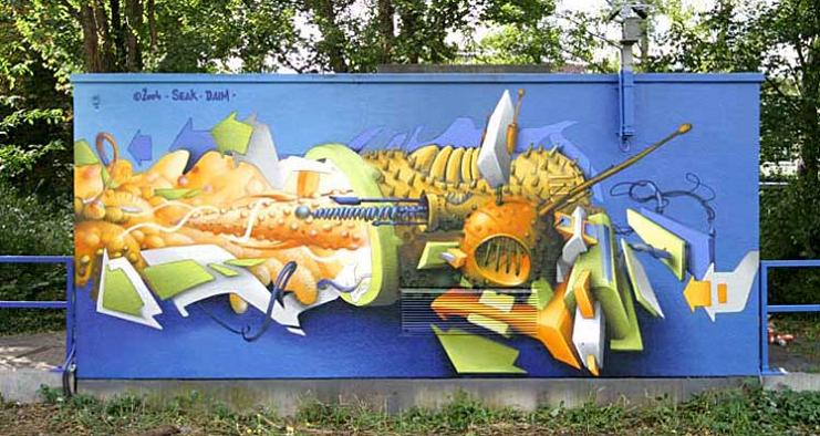 artist daim graffiti mural 3D INSANITY With Only Four Letters