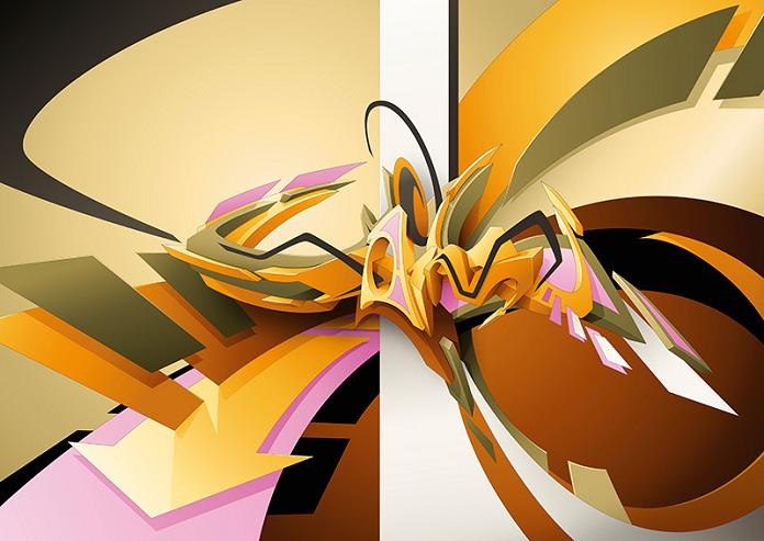 artist daim graffiti 3D INSANITY With Only Four Letters