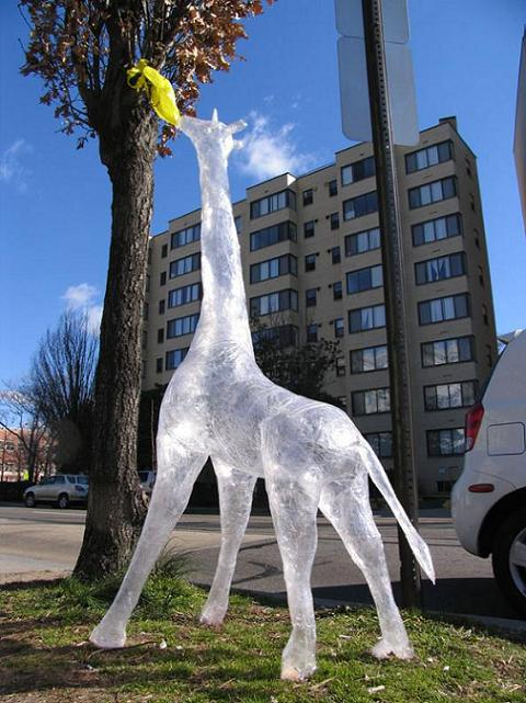 clear giraffe sculpture packaging tape art This is Art...with Packaging Tape! Meet Mark Jenkins