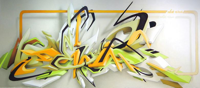 daim graffiti mural 3d lettering 3D INSANITY With Only Four Letters