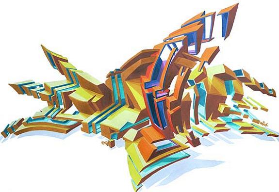 daim sketch graffiti lettering 3D INSANITY With Only Four Letters