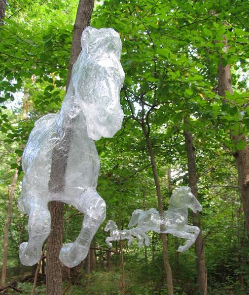 horses made of clear tape in forest This is Art...with Packaging Tape! Meet Mark Jenkins
