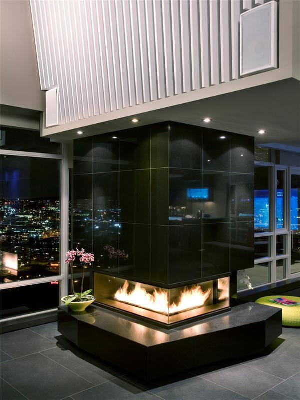 beautiful fireplace inspiration in luxury apartment The $10 Million Aquarius Penthouse Feels Like a Nightclub