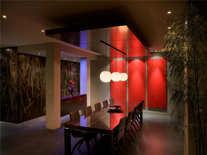luxury condo dining room interior design inspiration The $10 Million Aquarius Penthouse Feels Like a Nightclub