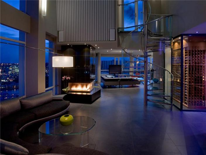 The 10 million aquarius penthouse feels like a nightclub for Condo living room design
