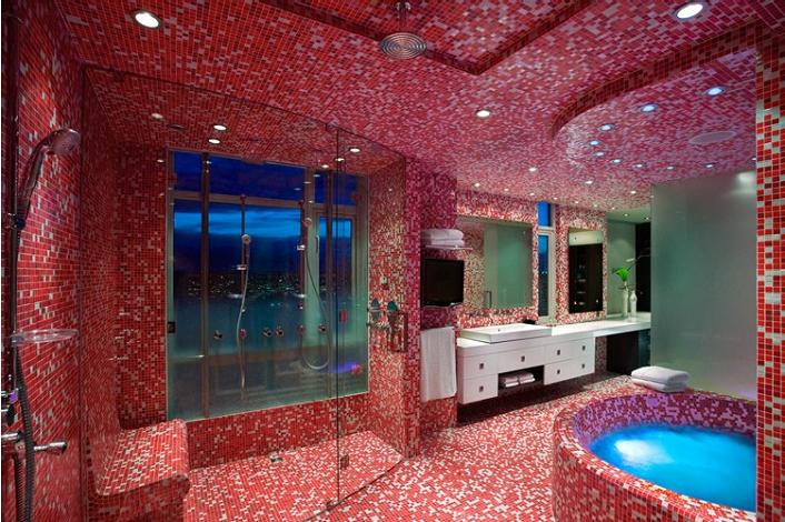 master en suite bathroom red penthouse vancouver The $10 Million Aquarius Penthouse Feels Like a Nightclub