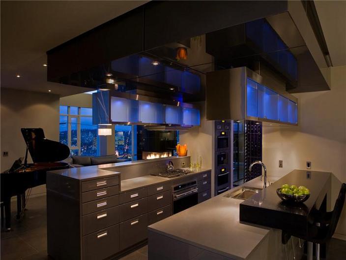 modern kitchen inspiration penthouse The $10 Million Aquarius Penthouse Feels Like a Nightclub