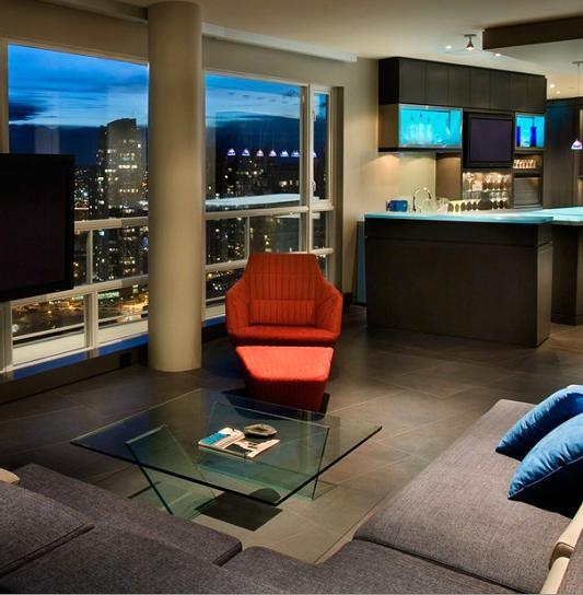 modern living room set The $10 Million Aquarius Penthouse Feels Like a Nightclub