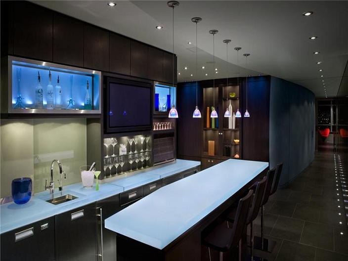 penthouse bar in apartment The $10 Million Aquarius Penthouse Feels Like a Nightclub