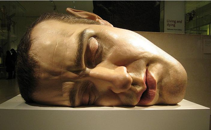 ron mueck face on side self portrait hyperrealistic Astonishing Underwater Sculptures by Jason deCaires Taylor [30 pics]