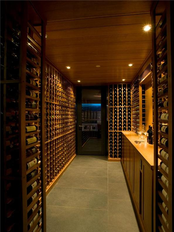 wine cellar in luxury condominium The $10 Million Aquarius Penthouse Feels Like a Nightclub
