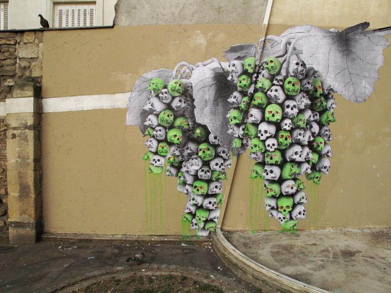 grape skulls street poster art by ludo THE WAR IS ON: Natures Revenge by Ludo