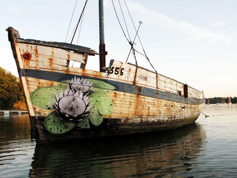street art flower on a boat ludo THE WAR IS ON: Natures Revenge by Ludo