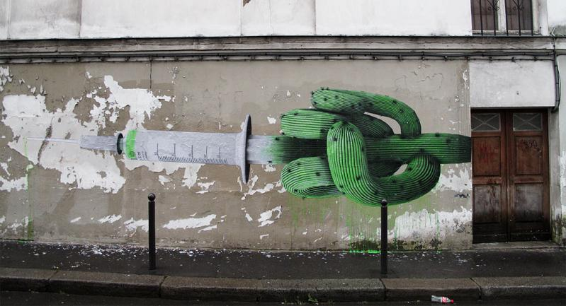 syringe needle cactus street art ludo natures revenge Awesome Street Art by Best Ever