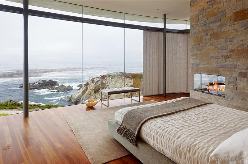 master bedroom with oceanfront view of pacific An Ocean of Emotion: The View from Otter Cove