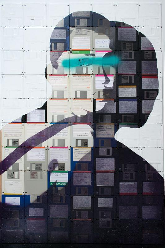 outdated storage devices art static shadows A Trip Down Memory Lane: Floppy Disk Art by Nick Gentry