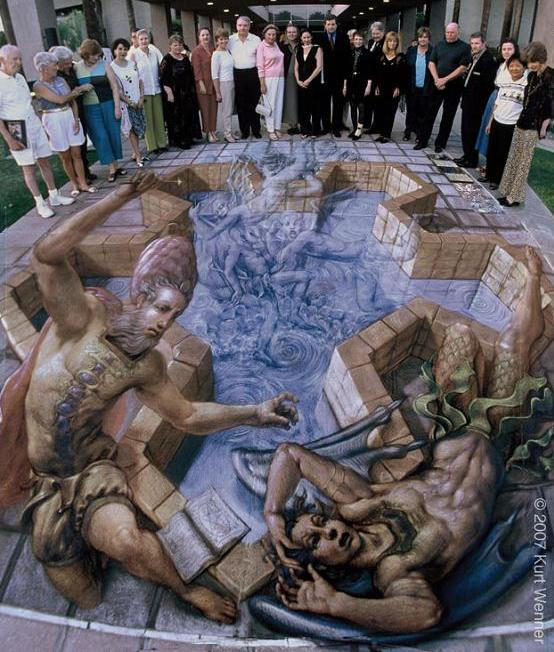 3 dimensional sidewalk art with chalk The Inventor and Master of 3D Sidewalk Chalk Art   Kurt Wenner