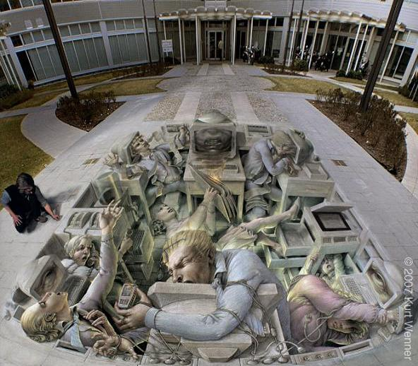 3d pavement art with chalk The Inventor and Master of 3D Sidewalk Chalk Art   Kurt Wenner