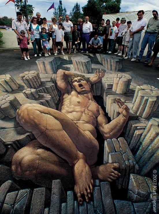 amazing street art The Inventor and Master of 3D Sidewalk Chalk Art   Kurt Wenner