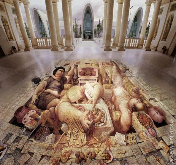 anamorphic pavement art The Inventor and Master of 3D Sidewalk Chalk Art   Kurt Wenner