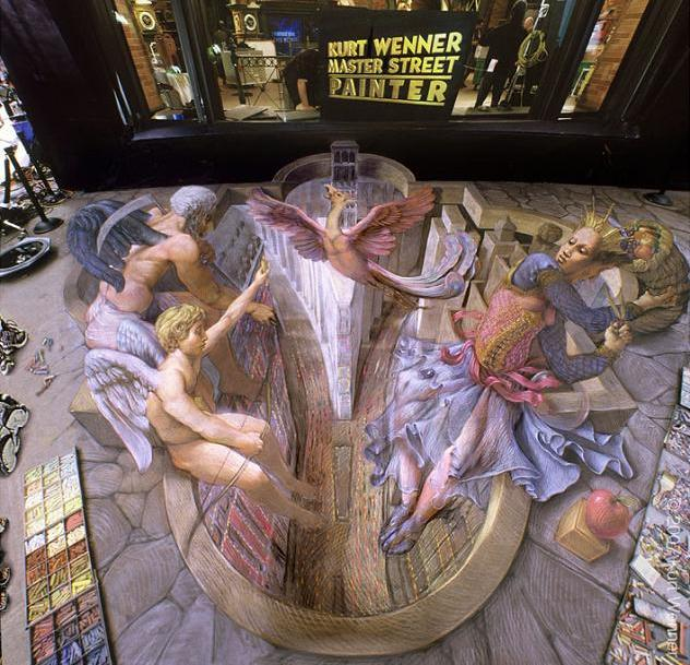 anamorphic street art The Inventor and Master of 3D Sidewalk Chalk Art   Kurt Wenner