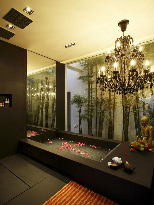beautiful black bathtub with flower petals What a Mansion in Thailand Looks Like