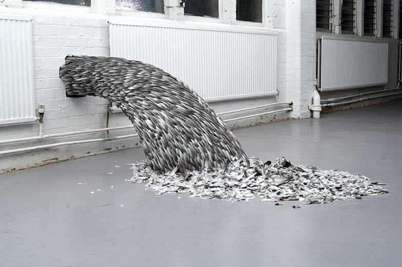 bird feathers rushing out of pipe in wall Incredible Feather Art by Kate MccGwire