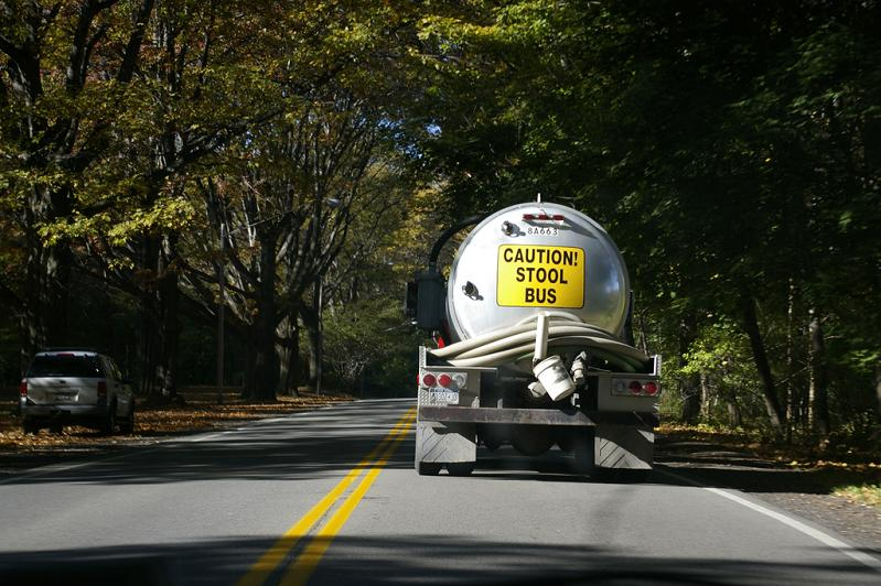 caution stool bus sanitation truck Picture of the Day   March 23, 2010