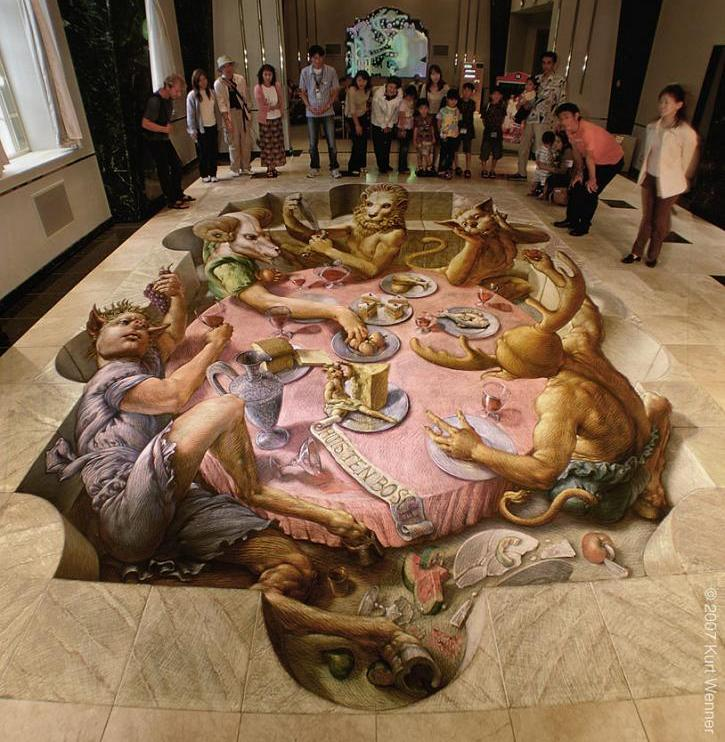 example of anamorphic art The Inventor and Master of 3D Sidewalk Chalk Art   Kurt Wenner