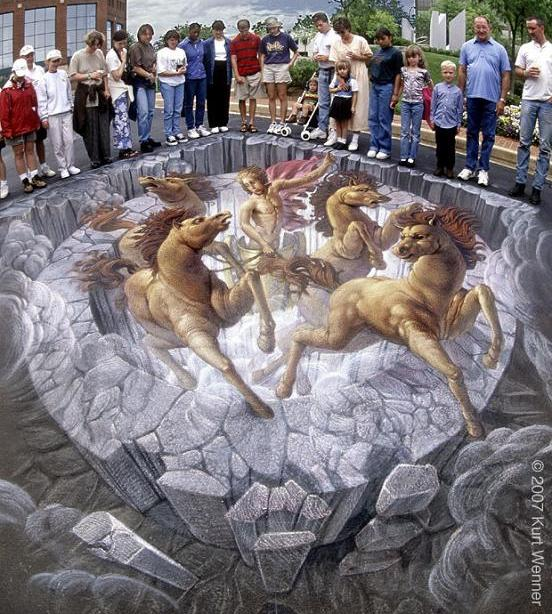 example of anamorphism The Inventor and Master of 3D Sidewalk Chalk Art   Kurt Wenner