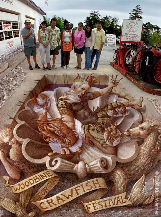 illusionistic painting The Inventor and Master of 3D Sidewalk Chalk Art   Kurt Wenner
