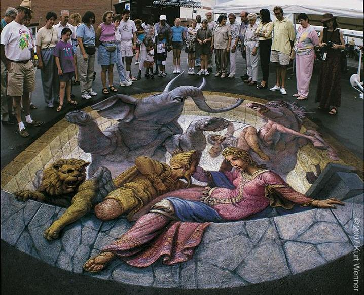 kurt wenner 3d chalk art on street The Inventor and Master of 3D Sidewalk Chalk Art   Kurt Wenner