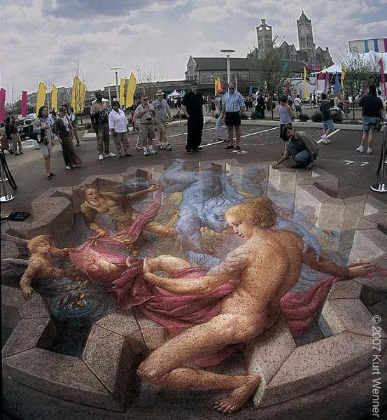 pavement chalk art 3d The Inventor and Master of 3D Sidewalk Chalk Art   Kurt Wenner
