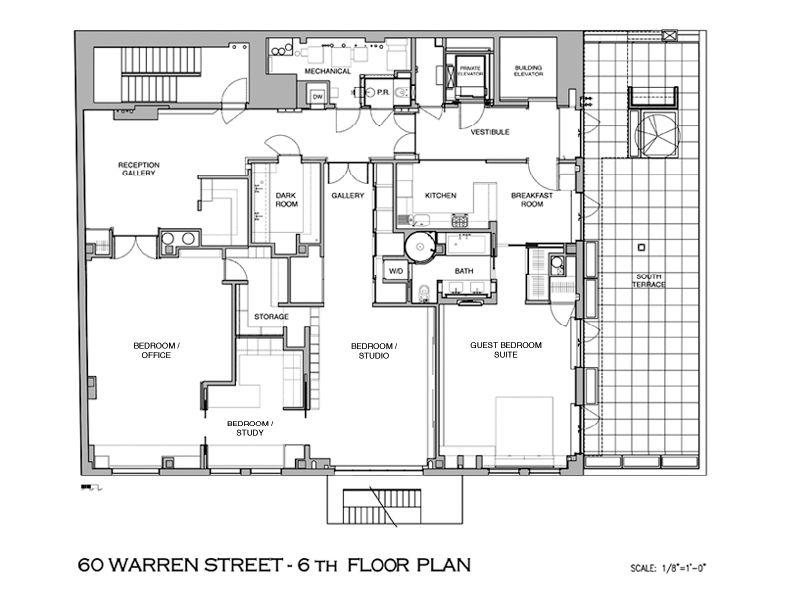 60 warren street townhouse in sky floor plan A Townhouse in the Sky