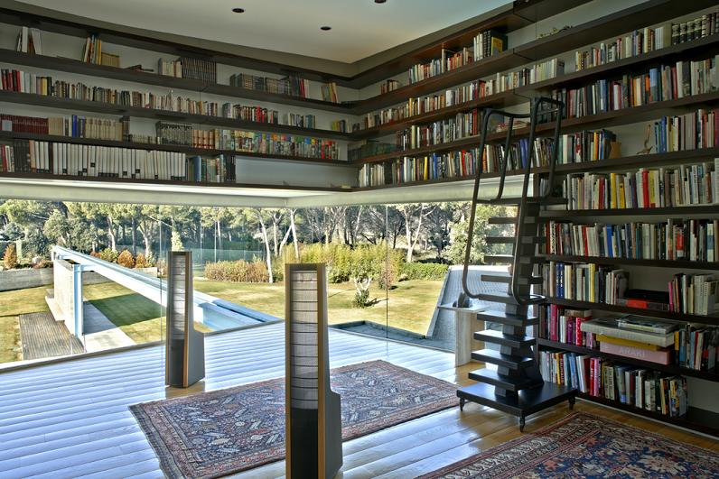 amazing beautiful incredible library Mega Mansion in Madrid by A Cero