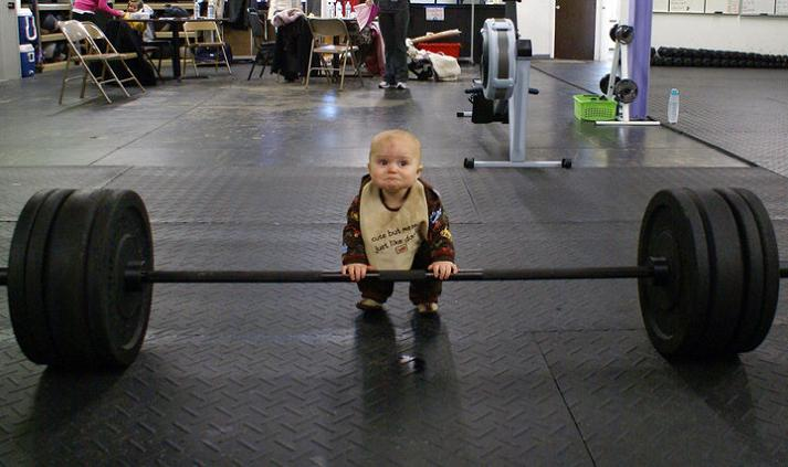 funny baby trying to lift weights Picture of the Day   You Can Do It Baby!