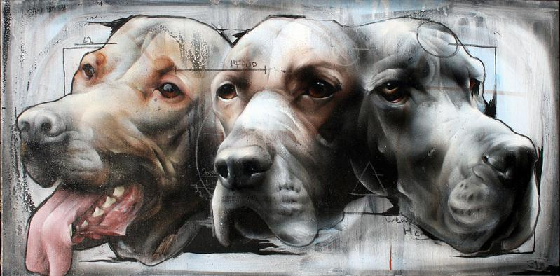 three headed dog street art by best ever Incredible Street Art Illustrations by Phlegm