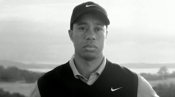 tiger sad face black and white new nike golf commercial The Recurring Marketing Theme: Tiger and his Dad, Earl Woods