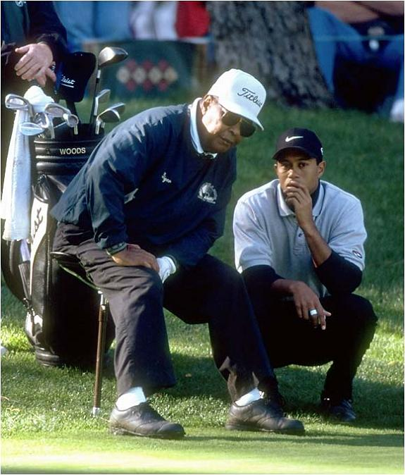 tiger woods with his dad on golf course The Recurring Marketing Theme: Tiger and his Dad, Earl Woods