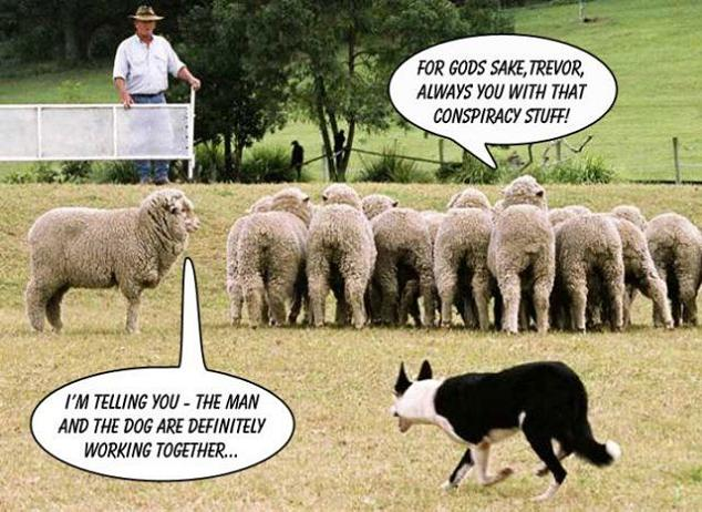 trevor man and dog working together sheep comic Conspiracy Theory [Comic Strip]