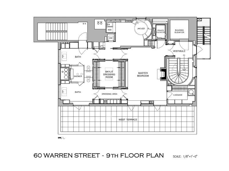 tribeca penthouse floor plan A Townhouse in the Sky