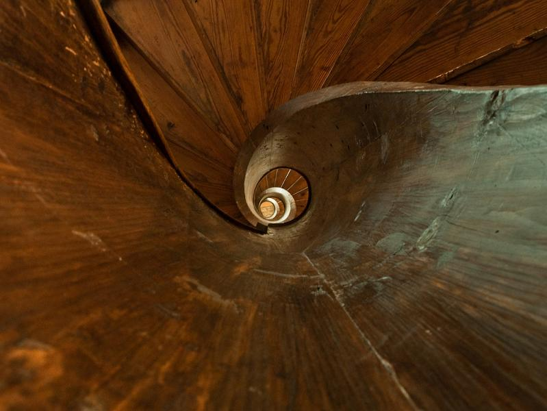 wooden spiral staircase loooking up 25 Stunning Images of Spiral Staircases