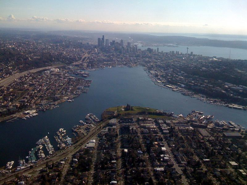 aerial of lake union seattle washington Im On A [House] Boat   Floating Home in Lake Union, Seattle